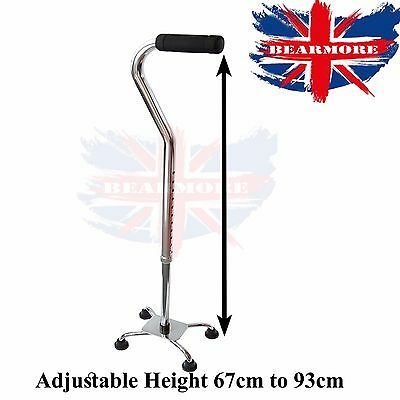 Adjustable 4 legs base Walking Stick with Small Base Eligible for Old Age Person