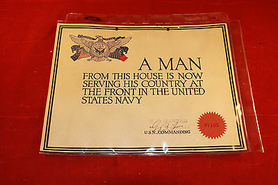 "Vintage WW2 US Navy Window Home Service Certificate "" A Man from this House USN"""