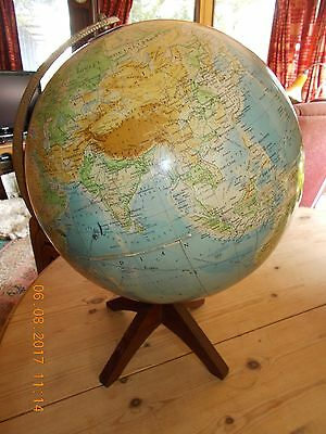 "George Philip & Son Worldmaster Globe1963 43""circumference Wooden stand 18"" tall"