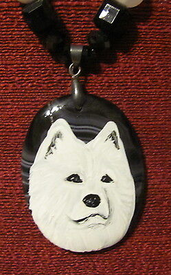 Samoyed hand  painted on an oval black Onyx Agate pendant/bead/necklace