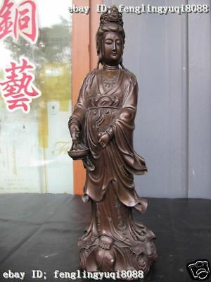China Bronze Copper Carved Fish kep Kwan-Yin Guan Yin Bodhisattv Buddha Statue