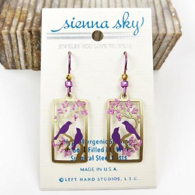 Sienna Sky Earrings Two Purple Birds in Gold Branch Purple Cherry Tree Handmade
