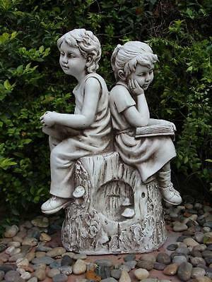 Boy & Girl Reading on Rock statue garden ornament figurine gift
