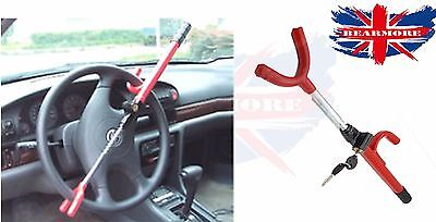 Anti Theft Steering Wheel Lock Double Hook Extendable Car Van Steel Security @UK