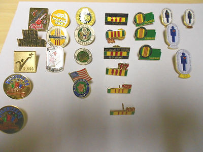 Lot Of 25  Collector Org Vintage Misc. Military Pins - Air Force, Army, Vietnam