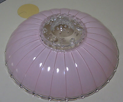 "Vintage 11.5"" Mid Century Modern Pink Frosted Glass Ceiling Light Fixture Shade"