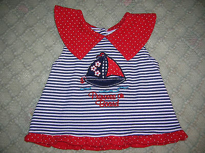 ❤ Fisher-Price ❤ Cute Nautical Top ❤ Sailboat ❤ Red Collar-White Blue❤Vguc ❤3-6M