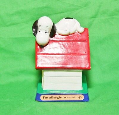 "Snoopy DogHouse Figure ""I'm Allergic to Morning."" Peanuts"