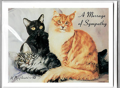 Cat Notecards Sympathy Message Set of 6 + Envelopes Pets We Love In Our Hearts
