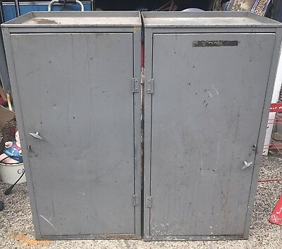 Pair Of Salvaged Industrial Metal Cabinets