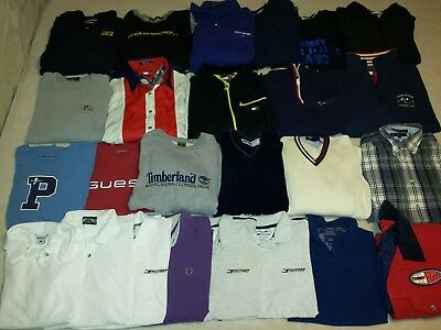 Lot of 25 Mens Tommy Hilfiger Ralph Lauren L XL Shirts Sweaters Pullovers & More