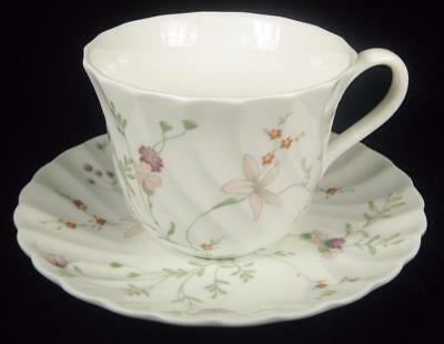 Wedgwood Floral 'Campion' Swirled Bone China Cup & Saucer 1984-93