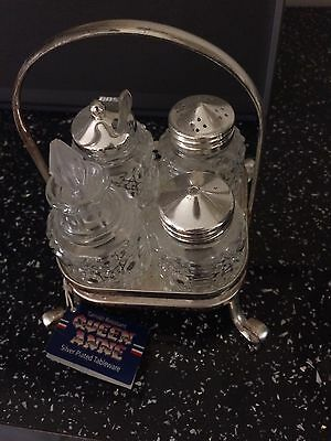Silver Plated Cruet Set in stand