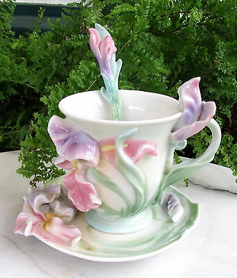 Franz Windswept Iris Cup & Saucer With Matching Spoon