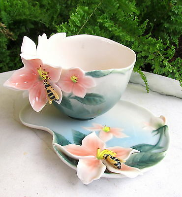 Pretty Franz Apple Blossom & Bee Cup & Saucer