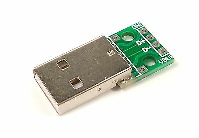USB type-A to DIP 2.54mm Breakout Board, 4pin USB Male Connector Adapter