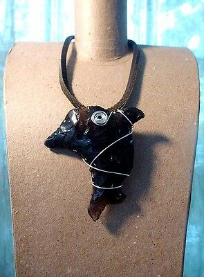 100% Black Obsidian Dolphin Pendant Silver Plated Wire Wrapped Rare Dragon Glass