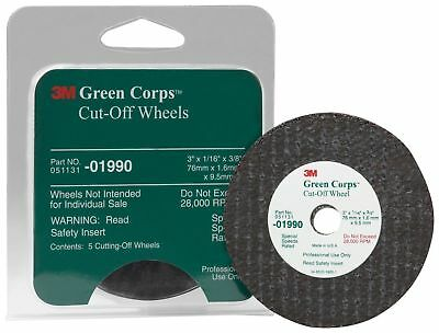 3M 01990 Green Corps 3'' x 1/16'' x 3/8'' Cut-Off Wheel (Sealed Package of 5)