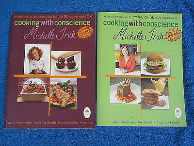 COOKING WITH CONSCIENCE Michelle Trute book 1 + 2 Low Fat, Low GI + vegetarian