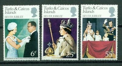 Turks & Caicos Islands Scott #321-323 MNH Queen Elizabeth II Silver Jubilee $$