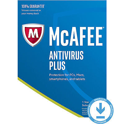 McAfee Antivirus Plus 2017 Latest UNLIMITED Devices PC Mac etc. 1 Year License