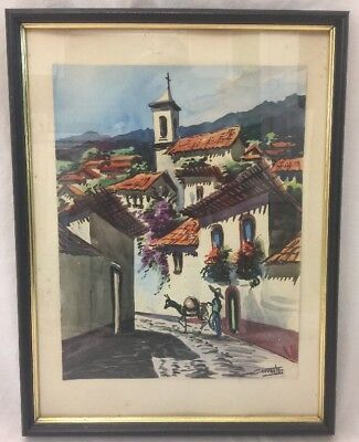 Mexican Town W/Villager Watercolor Painting Signed Cervantes Framed