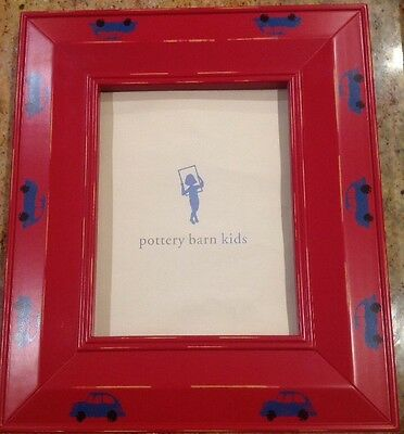 Pottery Barn Kids Large Picture Frame Red With Blue Cars  17X 14  8X10 Photo New