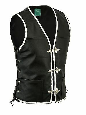 White Mens Real Leather Biker Waistcoat/vest Fish Hook Buckle- Sides Laces