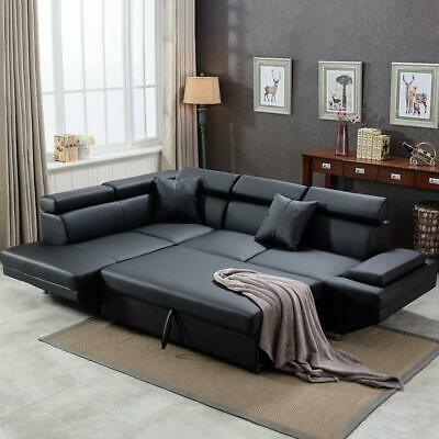 Contemporary Sectional Modern Sofa Bed - Black with Functional Armrest / Back L
