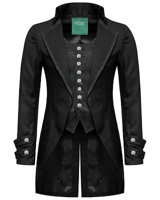 100% Cotto Mens Gothic Morning Jacket Tailcoat Black Steampunk Victorian Wedding