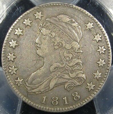 1818 25C U.S Old Silver Capped Bust Quarter Coin PCGS XF Details Original