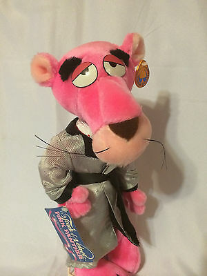 """Pink Panther Plush Poseable Touch Of Velvet Tagged Vintage 1980 16"""" Tall"""