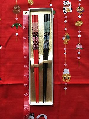 Japanese Lady Blue And Red Boxed Chopsticks Set Of Two From Japan