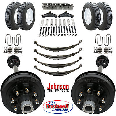 Tandem 7,000 lb Electric Brake Trailer Axle Kit with Wheels and Tires (14K Cap.)