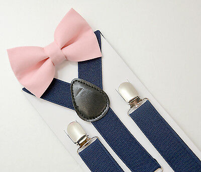 Kids Boys Mens Navy Suspenders & Blush Pink Bow tie SET Infant - ADULT