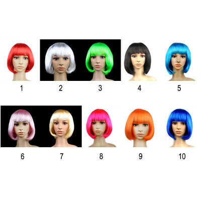 10 Colors New Fashion Women Girls BOB Short Straight Party Cosplay Full Wigs