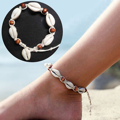 Women Sea Shell Wood Bead Anklet Cord Bracelet Chain Boho Hippy Surf Foot