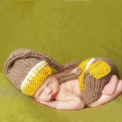 Cute Baby's Crochet Knitted Hat And Rompers Pants Photography Props For 0-12M