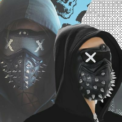 US SHIP Watch Dogs 2 latex Mask Aiden Pearce Wrench Cosplay Mask Helmet Eyepatch