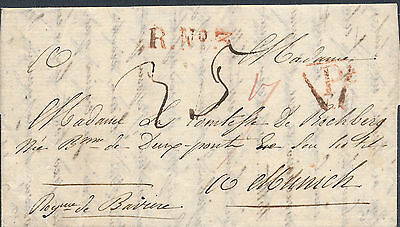 "1760 FRANCE Prestamp red hds ""R.NO. 3"" & triange ""P"" alongide to München TAX"