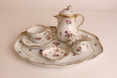 Good Antique Meissen Porcelain Tete-a-Tete Coffee / Tea Set 19thC Marked !!