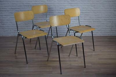 Vintage Industrial Style Stacking Chrome Frame School Cafe Bar Dining Chairs