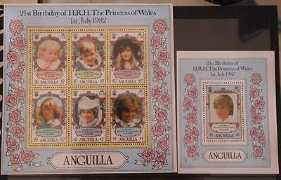 Anguilla 1982 2 Mini Sheets 21st Birthday Princess Diana MS513 MS514 MNH