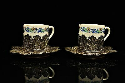 Antique Original Perfect Silver Ottoman Double Caffee Cup