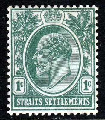 STRAITS SETTLEMENTS KE VII 1904-10 1c. Deep Green Wmk Mult Crown CA SG 127 MINT
