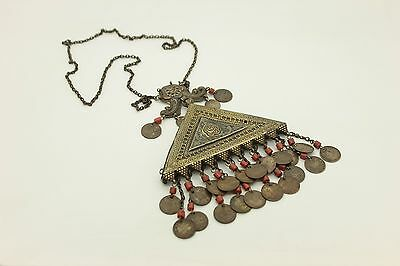 Antique Original Silver Niello Asian Uzbekistan Coral Decorated Amazing Necklase