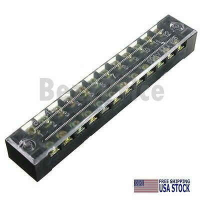 600V 15A Dual Row 12 Positions Screw Terminal Electric Barrier Strip Block US ST