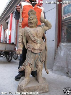 "44""Tibet Buddhism temple wood handwork carved warrior God Buddha statues"