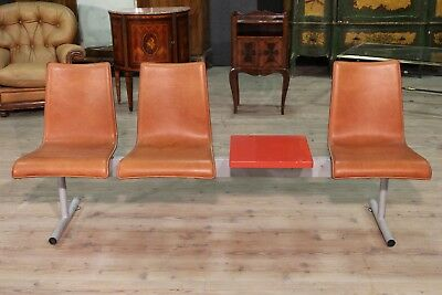 Bench 3 seats with small table red metal antique style 80s chest table