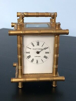 Elliott & Son Small Brass Carriage Clock Early 20th Century Bamboo Edge-Restore.